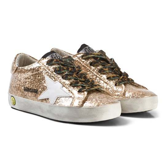 Golden Goose Gold Glitter Star Print Superstar Sneakers Gold Glitter/Leopard Lace