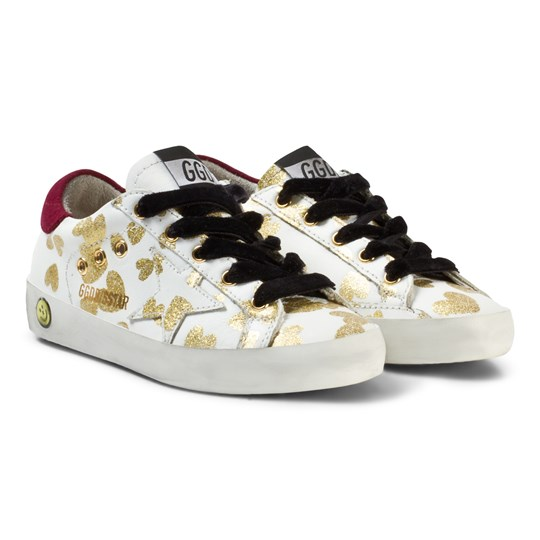 Golden Goose White Leather Gold Hearts Print Superstar Sneakers White Leather/Gold Dripted Hearts