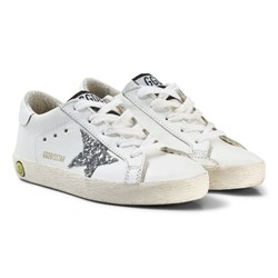 Golden Goose White and Silver Star Print Glitter Superstar Sneakers