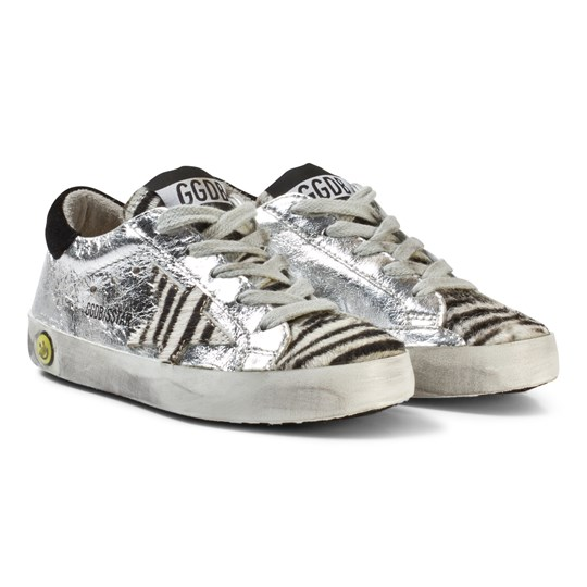 Golden Goose Silver Zebra Star Print Superstar Sneakers Silver Leather/Zebra Star
