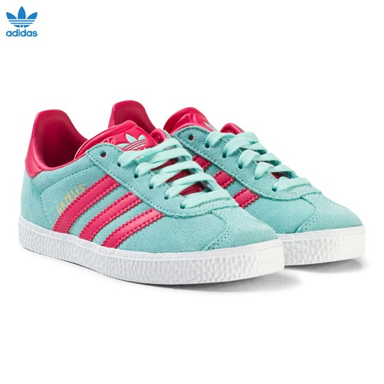 adidas Originals Aqua and Pink Gazelle Kids Trainers ENERGY AQUA F17/SUPER PINK F15/GOLD MET.