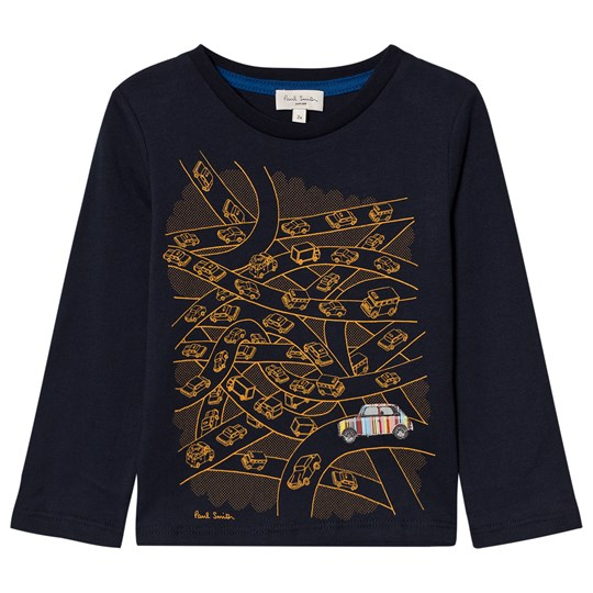 Paul Smith Junior Navy Mini Print Long Sleeve Tee 492