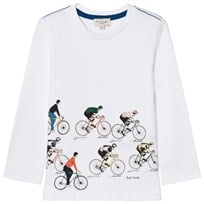 Paul Smith Junior White Cycle Tour Print Long Sleeve Tee 01