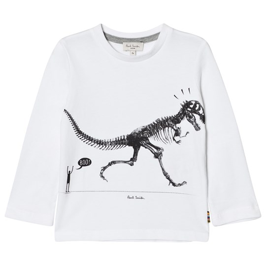 Paul Smith Junior White Dinosaur Print Long Sleeve Tee 01