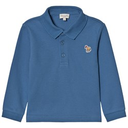 Paul Smith Junior Petrol Blue Long Sleeve Polo with Multi Stripe Placket