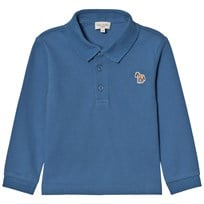 Paul Smith Junior Petrol Blue Long Sleeve Polo with Multi Stripe Placket 40