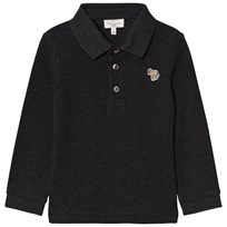 Paul Smith Junior Grey Marl Long Sleeve Polo with Multi Stripe Placket 24