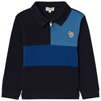 Paul Smith Junior Navy and Blue Zip Front Colour Block Polo 492