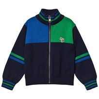 Paul Smith Junior Navy Colour Block Knit Zip Thru Cardigan 492