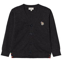 Paul Smith Junior Grey Marl Logo Cardigan with Multi Stripe Detail 24
