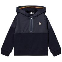 Paul Smith Junior Navy Half Zip Front Hoody with Multi Stripe Hood Detail 492