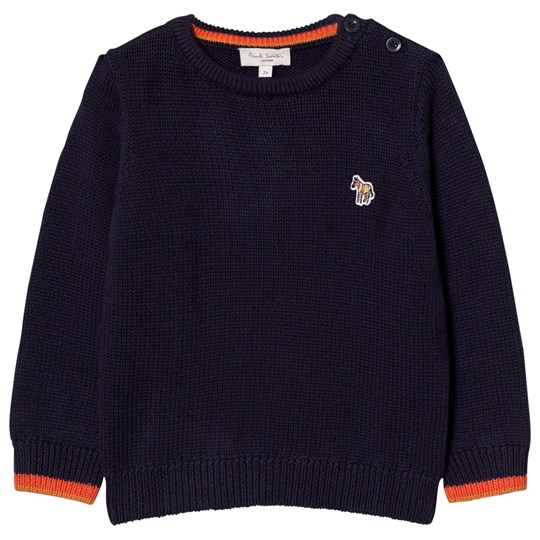 Paul Smith Junior Navy Knit Logo Jumper with Contrast Cuffs 492