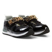 Moschino Kid-Teen Black Patent Branded Trainers NERO