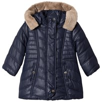 Mayoral Navy Padded Coat with Faux Fur Hood 59
