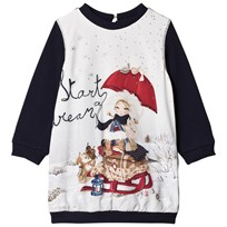 Mayoral Navy Snow Girl Print Sweat Dress 18