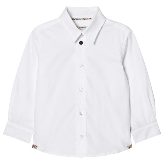 Paul Smith Junior White Classic Shirt with Multi Stripe Cuffs 01