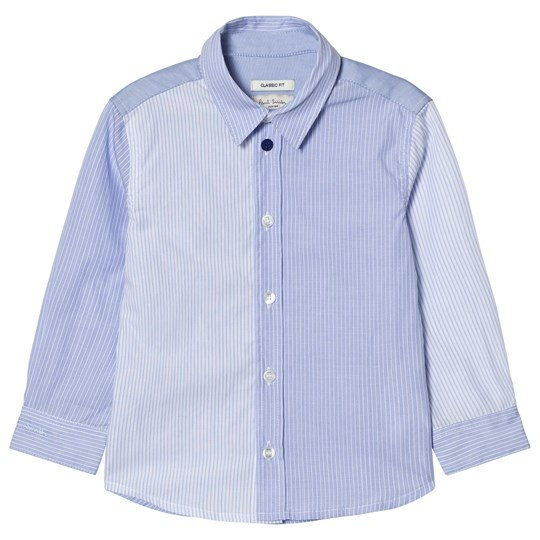Paul Smith Junior Blue Stripe Shirt with Multi Stripe Cuff 01