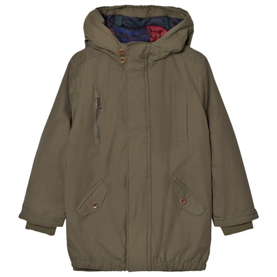 Paul Smith Junior Khaki Water-Repellent Hooded Parka with Quilted Lining 561