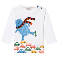 Paul Smith Junior White Skating Bear and Scarf Applique Tee 01