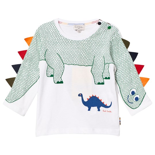 Paul Smith Junior White Dinosaur with Spines on Sleeve Tee 01