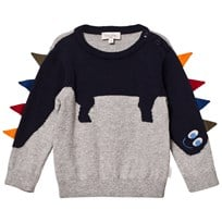 Paul Smith Junior Grey Dinosaur Knit Jumper with Spine Applique 294