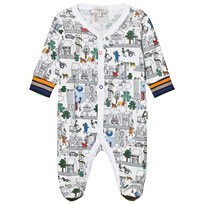 Paul Smith Junior White City Print Light Sweat Footed Baby Body 01