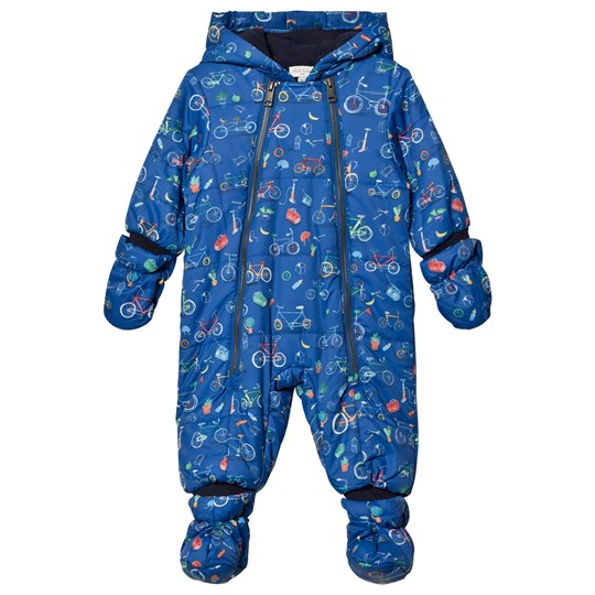 Paul Smith Junior Navy Bicycle Print Padded Snowsuit with Detachable Mittens and Booties 450