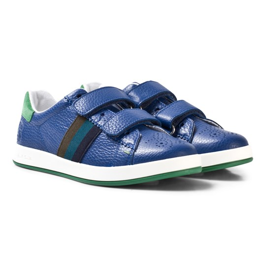 Paul Smith Junior Blue Leather Double Velcro Strap Trainers 450