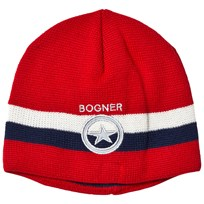 Bogner Red Branded Theo Stripe Beanie 554