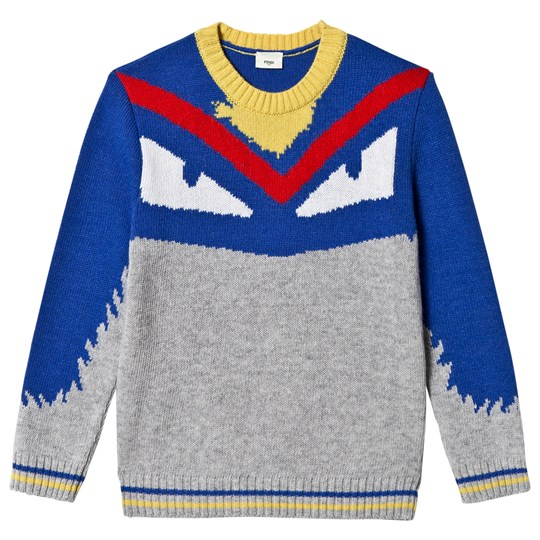 Fendi Grey and Blue Monster Knit Intarsia Jumper FOFXZ