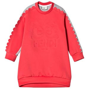 Image of Fendi Coral Embossed Logo Neoprene and Sweat Dress 8 years (2793697407)