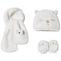 Mayoral Cream Teddy Faux Fur Hat, Scarf and Mittens Set 62