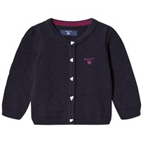 Gant Navy Textured Cardigan with Heart Buttons 433