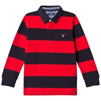Gant Red and Navy Bar Stripe Rugby Shirt 620