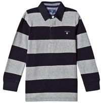 Gant Grey and Navy Bar Stripe Rugby Shirt 93