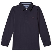 Gant Navy Heavy Rugby Shirt with Chambray 433