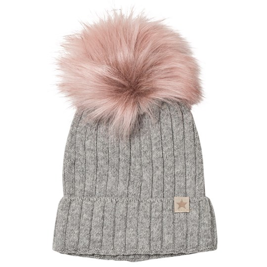 Huttelihut Knithut Fold Up Hat Grey and Pink L.grey/Rosa