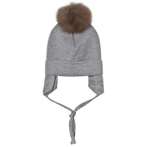 Image of Huttelihut Baby Hat with Ear Flaps Light Grey 12-18 mdr (3059678803)