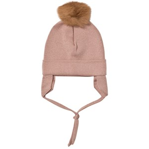 Image of Huttelihut Baby Hat with Ear Flaps Dusty Rose 12-18 mdr (3059678795)