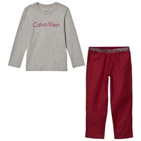 Calvin Klein Grey and Burgundy Branded Flannel Pyjamas 043