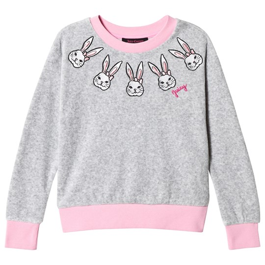 Juicy Couture Grey Bunny Embroidered  Velour Sweatshirt 147 Silver Lining