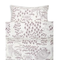 Mini Rodini Croco Map Bed Set Junior/Adult Off White White