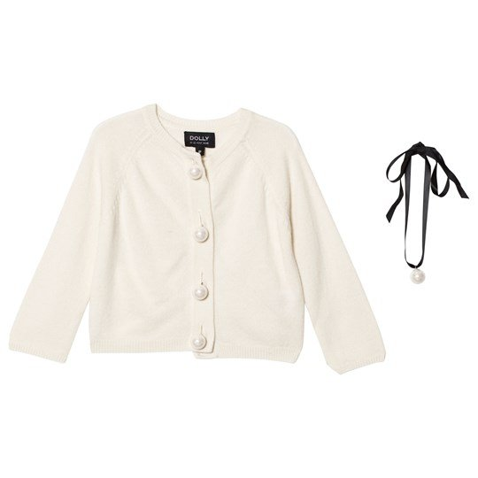 DOLLY by Le Petit Tom Pearled Up Cardigan Off-White off-white