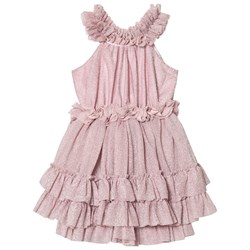 DOLLY by Le Petit Tom Ruffled Chiffon Dance Dress Dusty Pink Glitter