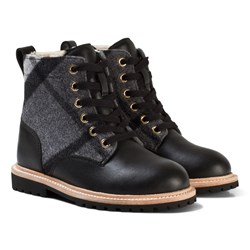 Burberry Black Mini William Check Shearling Boots