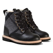 Burberry Black Mini William Check Shearling Boots Mid Grey