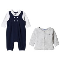 Mayoral Navy One-Piece and Gingham Jacket Set 79