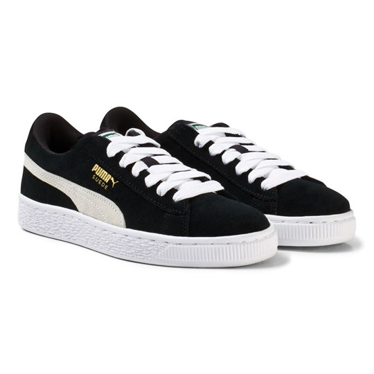 Puma Suede Jr Black and White Trainers Blk/Wht