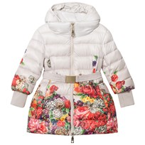 Monnalisa Beige and Floral Long Line Hooded Puffer Coat 84