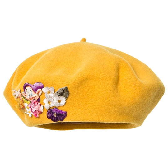 Monnalisa Yellow Felt Beret with Floral Applique 17